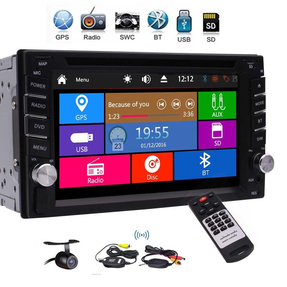 GPSナビゲーション3種類のUIのサポート1080P DVD CDオーディオプレーヤーGPS土ナビゲーションバーラジオのBluetooth SWCデュアルゾーンサブウーファーのUSB SD AUXカラフルなボタンライトワイヤレスリアカメラfwith EinCarダブルディンカーステレオ B0792V9Q61