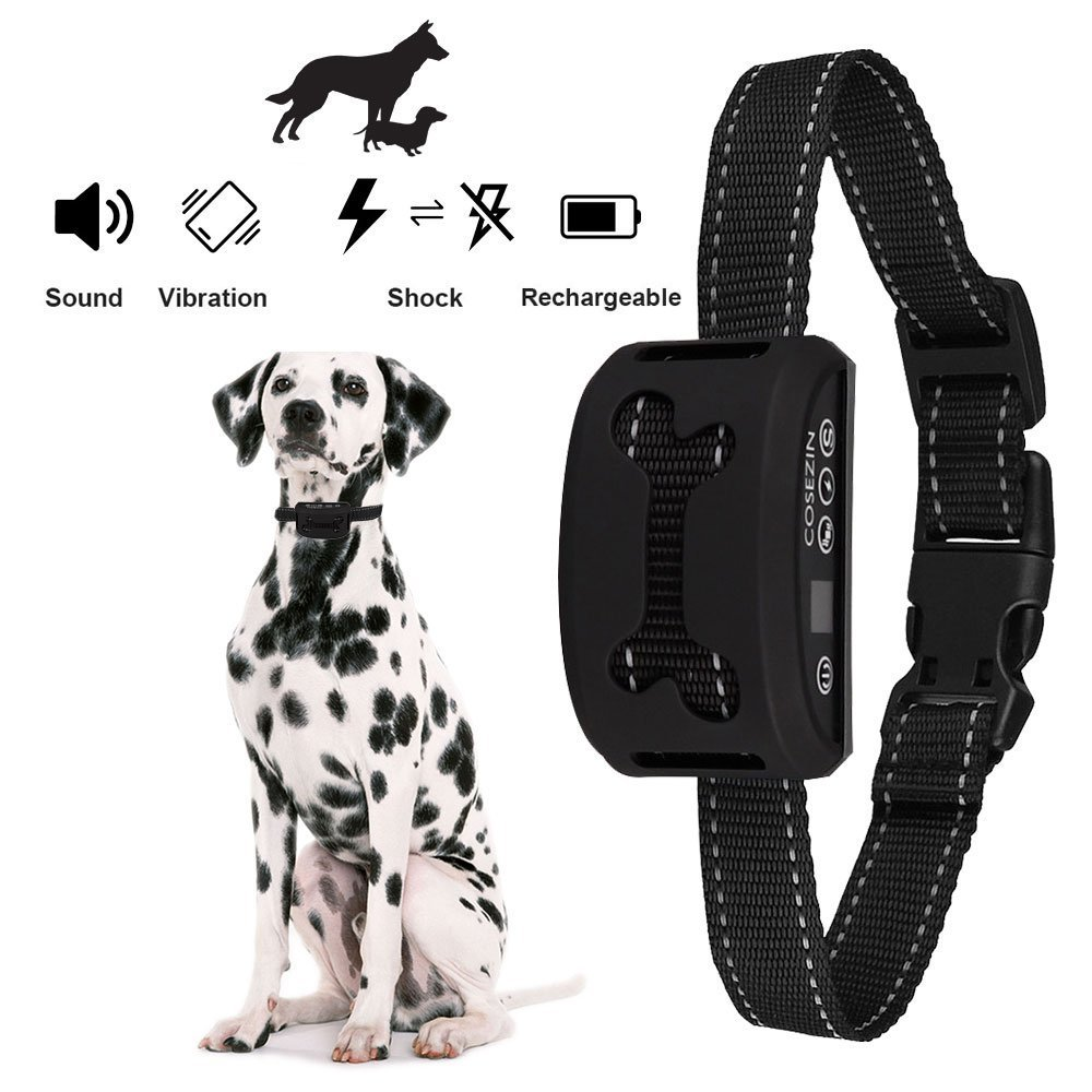 COSEZIN Bark Collar, Shock Collar for Dog with Beep Vibration and No Harm Shock 7 Adjustable Level for Tiny to Huge Dogs Rain Proof Rechargeable (Black) … D10