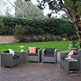Eden Outdoor 4 Piece Wicker Club Chairs w/Cushions & Aluminum C-Shaped Tables (6, Dark Grey/Natural)