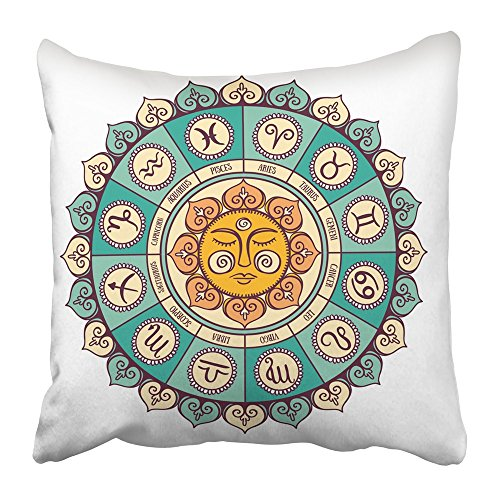 Soksar Throw Pillow Cover Square 16x16 Inch Pentacle Zodiac Circle with Horoscope Signs Hand Drawn Air Aquarius Aries Astrological Astrology Zipper Print Pillowcase Two Side Design Home Sofa Decor - Kid Drawn Calendar Cover
