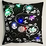 Light Up Glow LED Innovations Cozy Mood Vivid Flowers and Butterflies Glowing LED Night Light Plush Cushion Cover Christmas Gift18 X 18 Inches