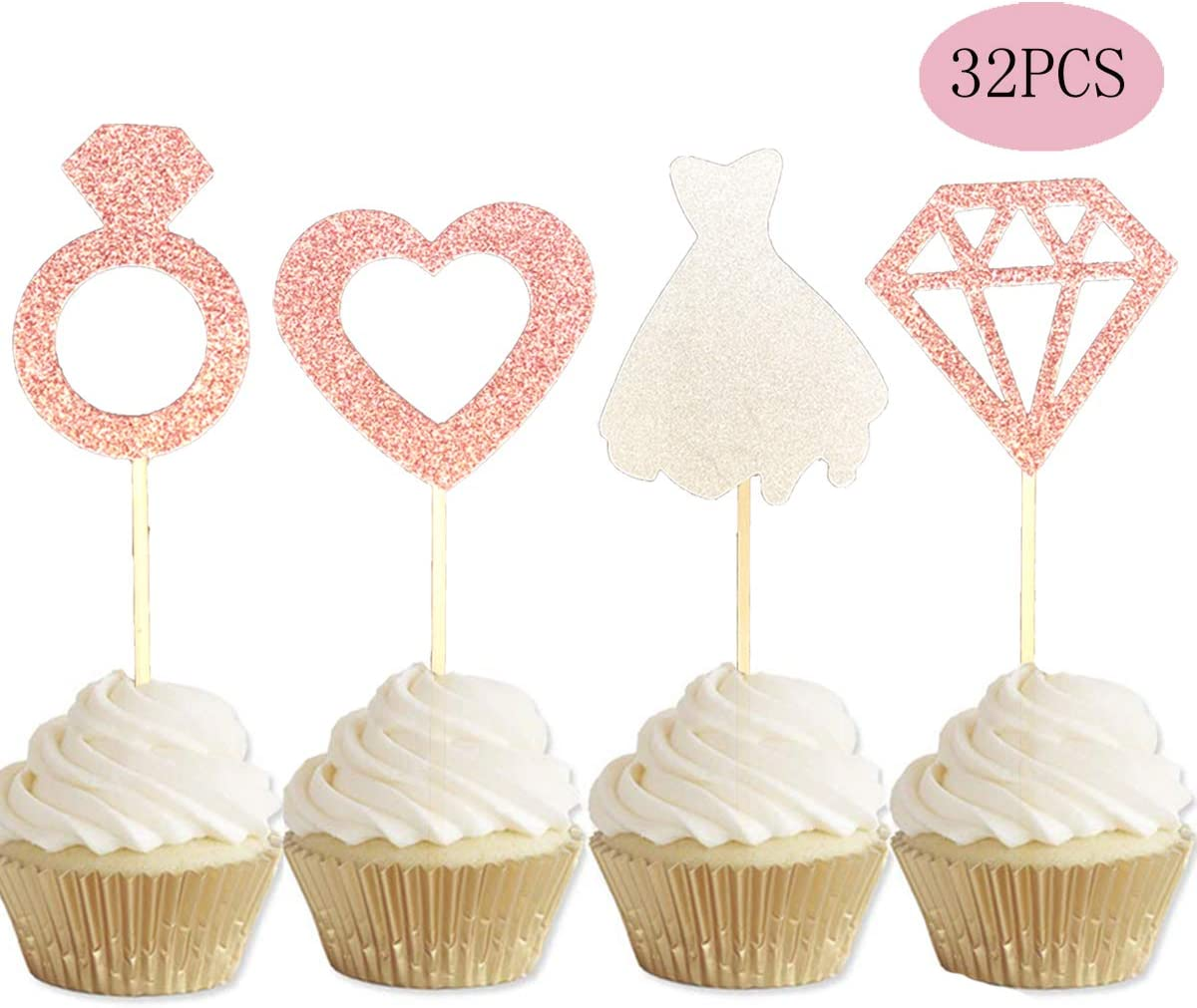 Valentine Party Decorations Supplies Engagement Bridal Shower Wedding Diamond Ring Cake Topper