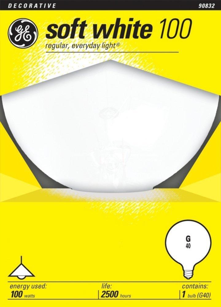5-Inch Diameter 6 Pack 35030 Soft White GE Lighting 49781 100-Watt G40 Bulb