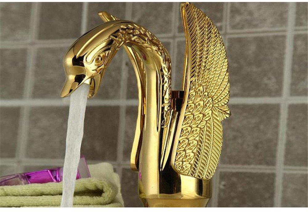 LHbox Im antiken Stil Golden Swan Wasserhahn Europäischen einzelne Bohrung Bohrung Bohrung Wasser Heizung das Kupfer Waschbecken Wasserhahn 731132