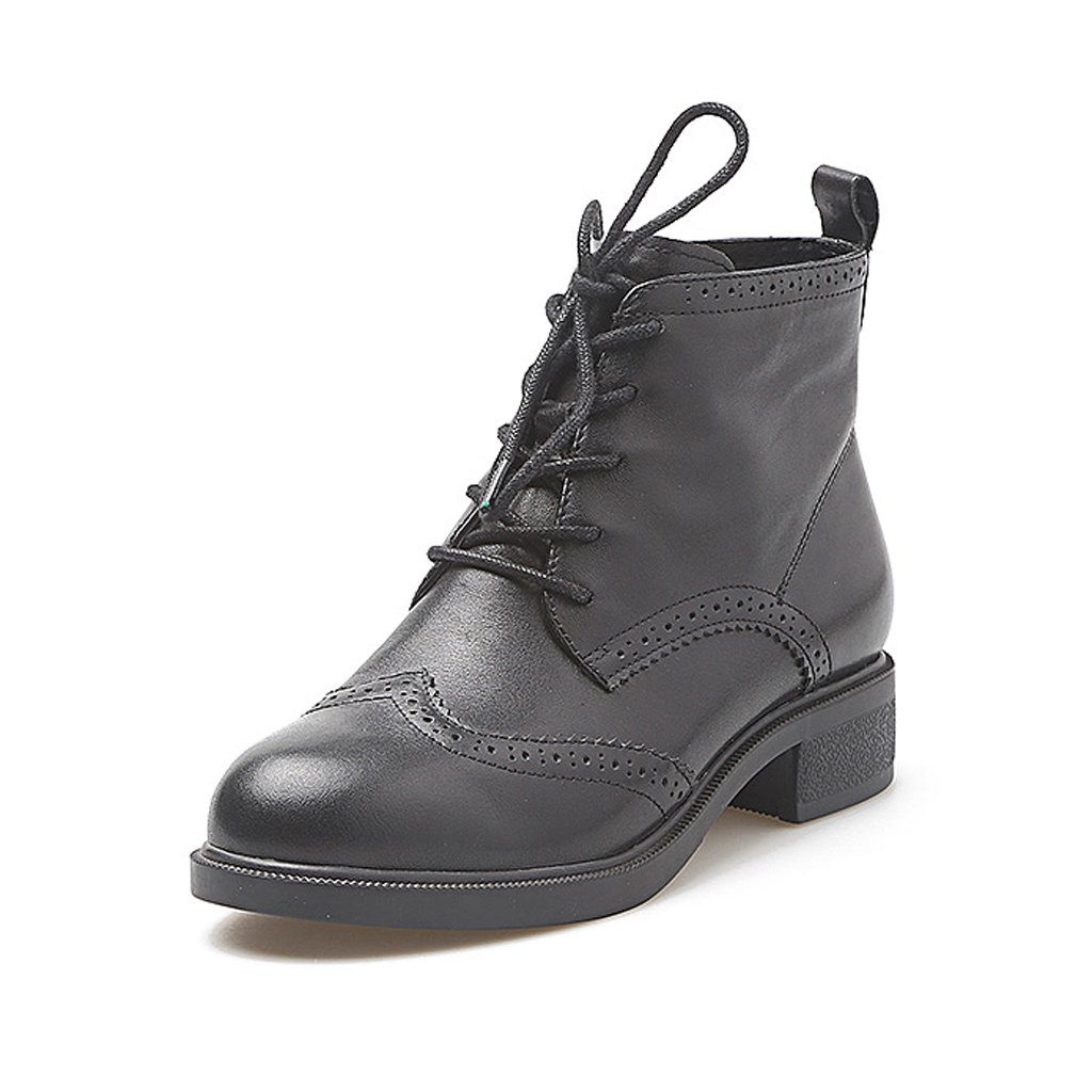 Woman's Martin boots autumn and winter shoes cow leather fashion boots ( Color : Black , Size : US:5.5UK:4.5EUR:36 )