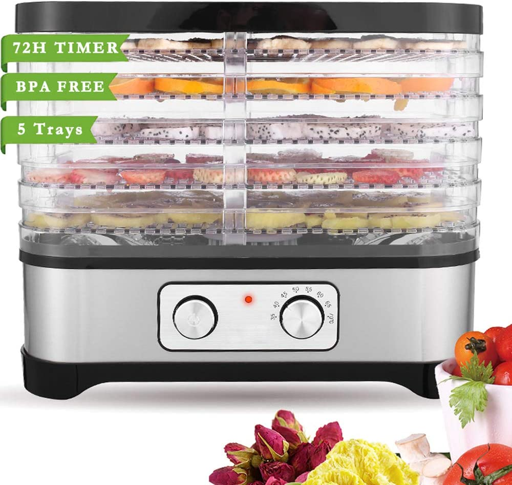 Food Dehydrator Machine for Jerky Meat Fruit Vegetable Beef, BPA Free, Temperature Control 250W (5 Trays, black one-button)