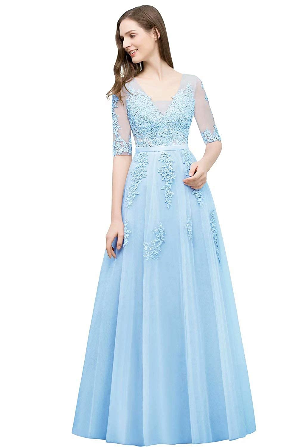 bluee Unions Women V Neck Tulle Prom Party Gown A Line Appliques Lace Formal Backless Evening Dress