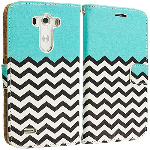 Accessory Planet(TM) Mint Green Zebra Wallet Leather Pouch Case Cover with Credit Card Slots Holder Accessory for LG G3