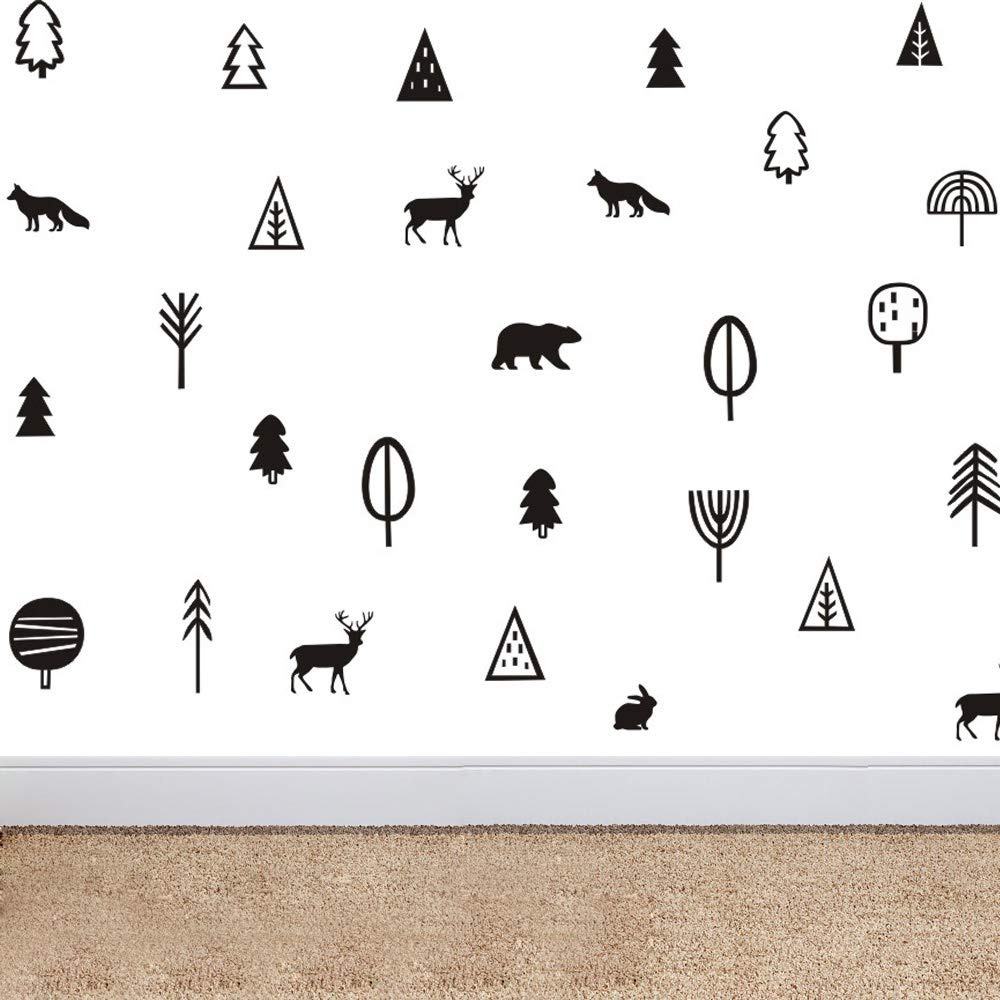 Kinds of Trees Woodland Animal Wall Decor Sticker Art Removable Home Decoration Forest Bear Deer Fox Wall Decal Vinyl Nursery Wall Decals (Black)