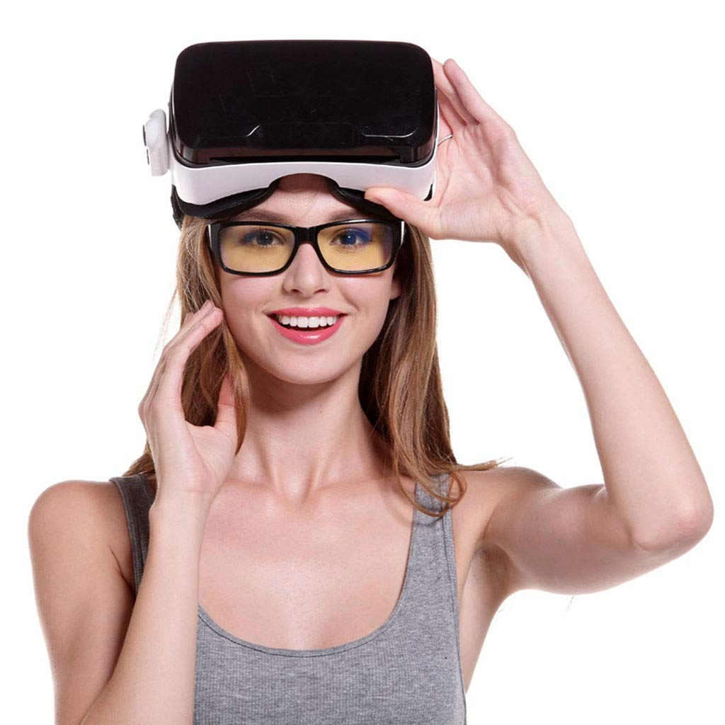 EGCLJ 3D Virtual Reality Headset Adjust Strap & with Remote Controller VR Glasses Movies & Game Suitable for 4.7''-6'' Smartphone (Single VR) by EGCLJ