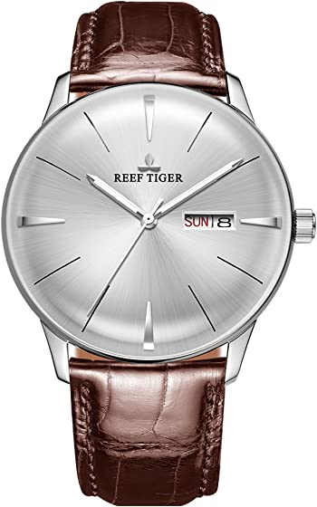 Reef Tiger Classic Dress Watches Mens Convex Lens Glass Mechanical Watches Calfskin Strap RGA8238