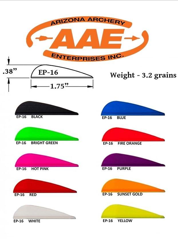Black AAE Arizona Archery EP 16 Elite Plastifletch Vanes Pack of 12