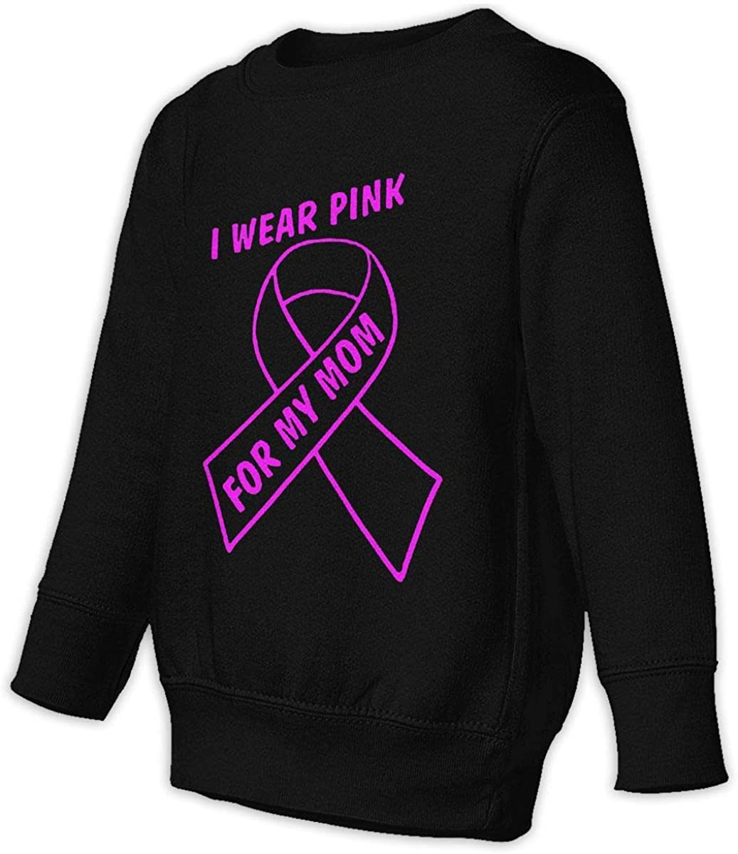 wudici I Wear Pink for My Mom Boys Girls Pullover Sweaters Crewneck Sweatshirts Clothes for 2-6 Years Old Children