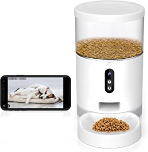 Automatic Cat Feeder, 1080P Camera WiFi Smart Pet Feeder, Automatic Dog Feeder with Portion Control, Food Dispenser for Cats, Dogs & Small Pets, 4L