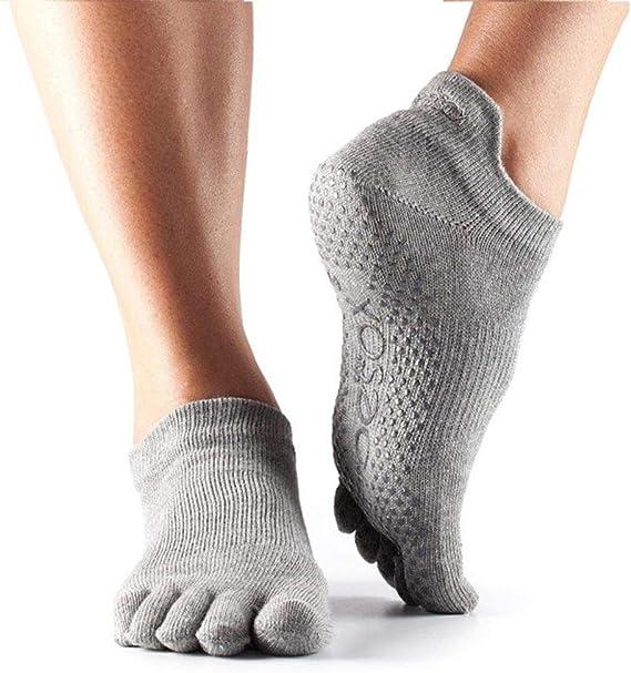 Yoga ToeSox Womens Low Rise Full Toe Grip Non-Slip for Ballet Barre Toe Socks Pilates