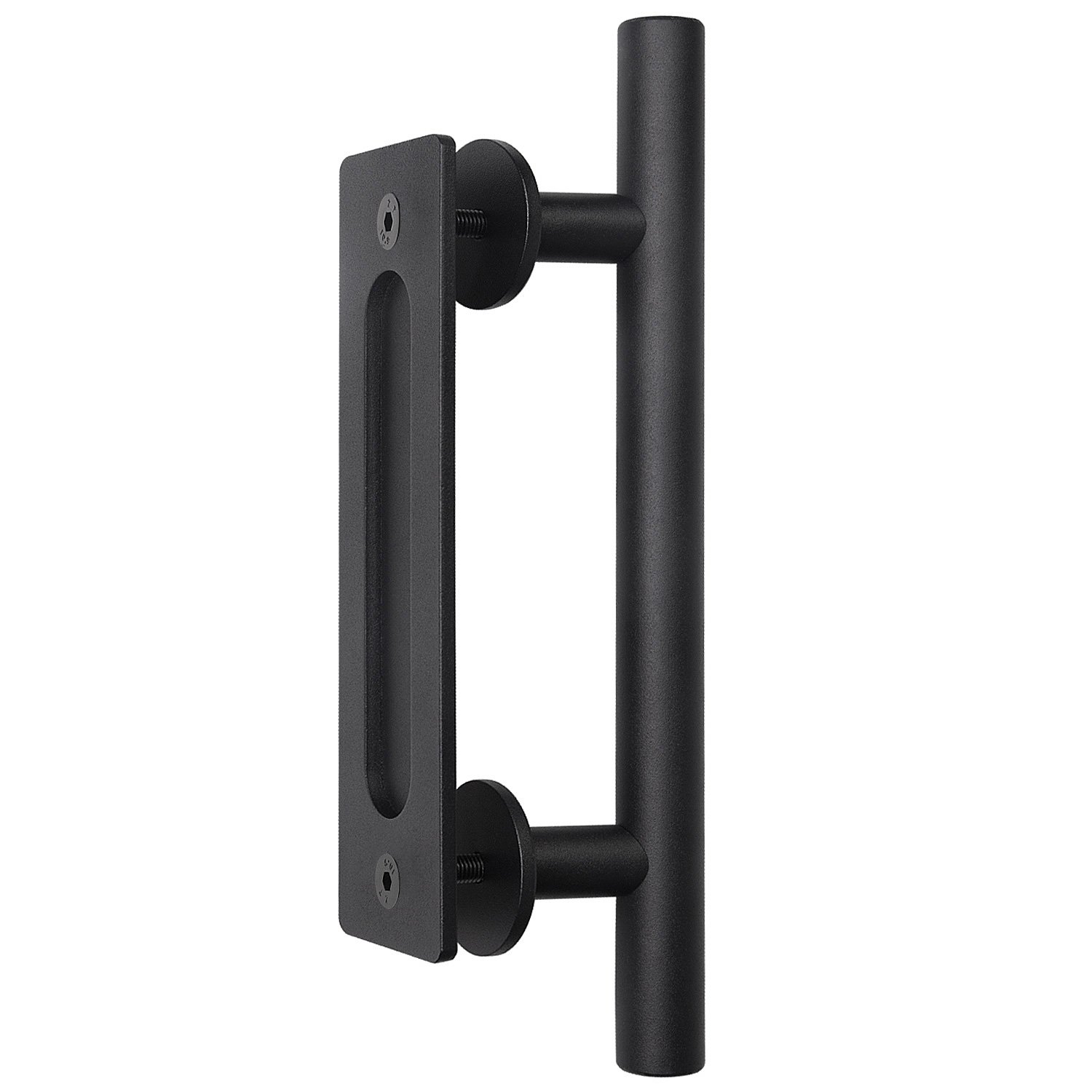 "Barn Door Handle Pull Flush Gate Handle Sliding Barn Door Handle Set Door Handle Barn Door Hardware Handle Black (12"") (Black)"