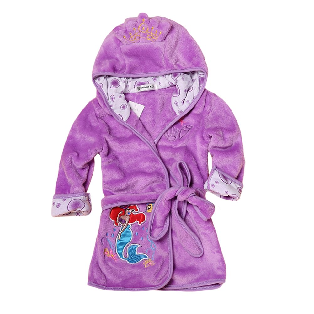 Baby Boys Girls Cartoon Bathrobe Soft Coral Fleece Infant Toddler Muticolored Sleepwear Outfit