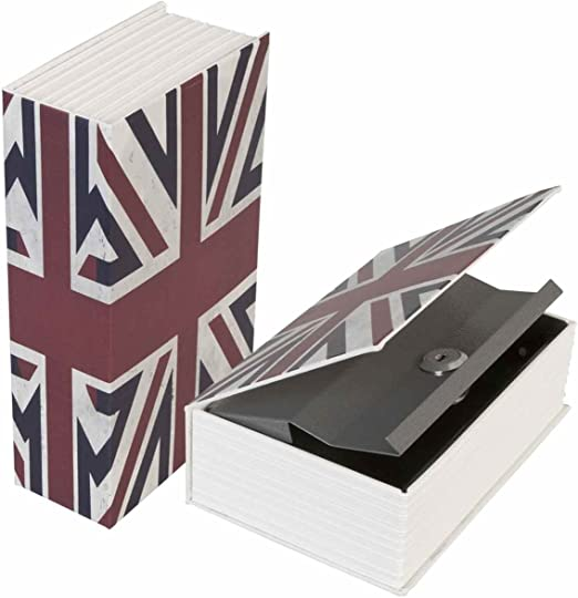 LifeUp-Caja Fuerte Libros Caja con Forma de Libro, SECRETA Seguridad con Llave, Diseño de la Bandera Británica