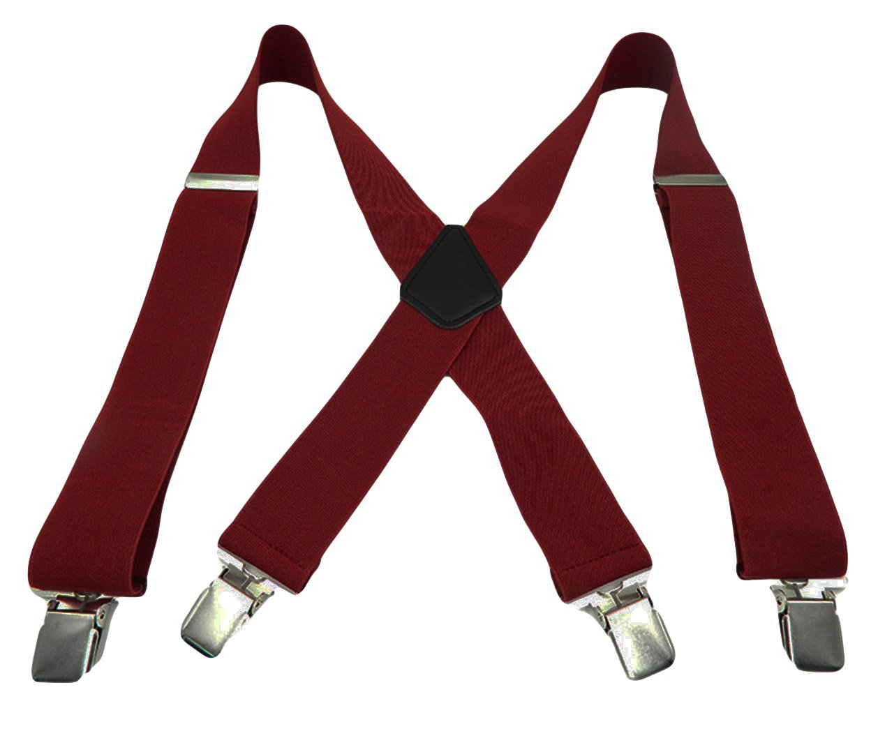 MENDENG Mens Suspenders X Back 2 Wide Adjustable Solid Straight Clip Heavy Duty ENG1996