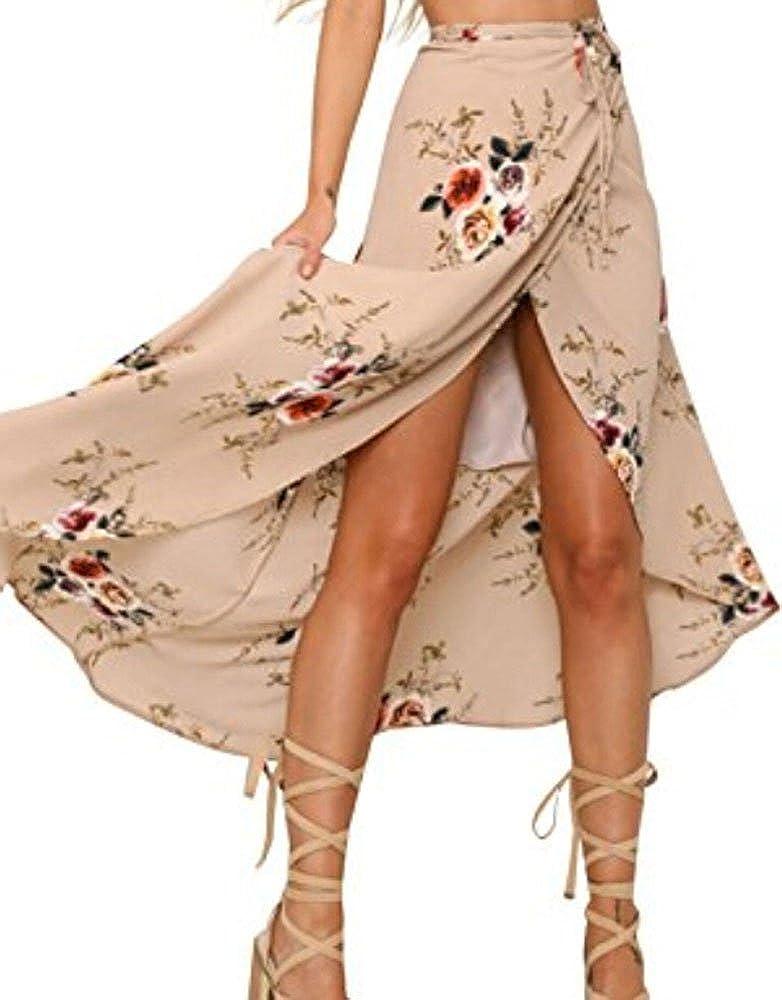 Lotu Wood Women's Boho Floral Print High Waist Summer Bech Wrap Maxi Skirt Cover up