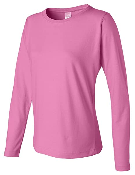 4fd25ab48 LAT Apparel Ladies Long Sleeve 100% Cotton Jersey Tee  2X Large  Raspberry  Pink