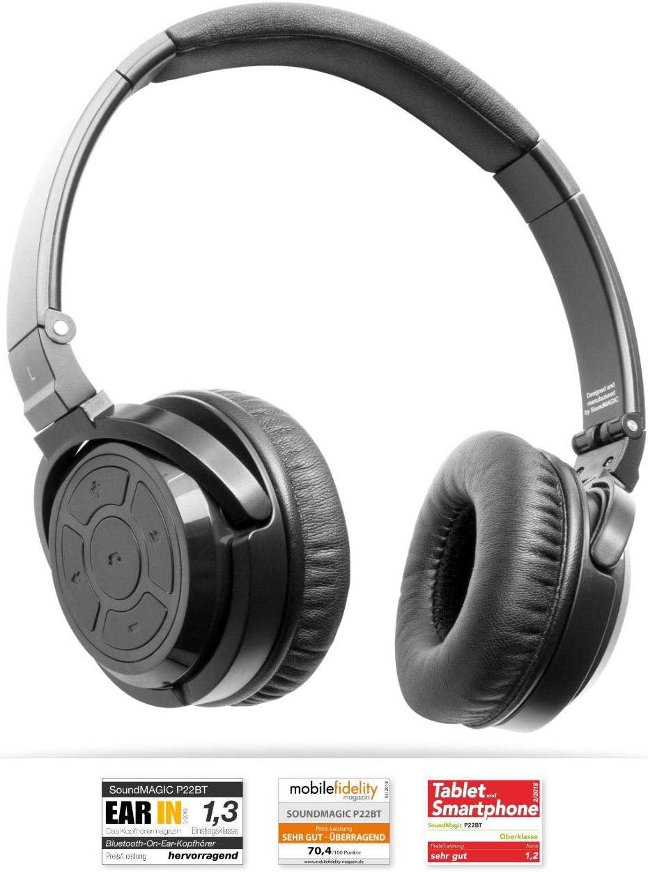 SoundMAGIC P22BT Wireless Bluetooth Headphones Noise Isolating Portable Audio On-Ear Headset Powerful Bass HiFi Stereo Headphone with Mic …