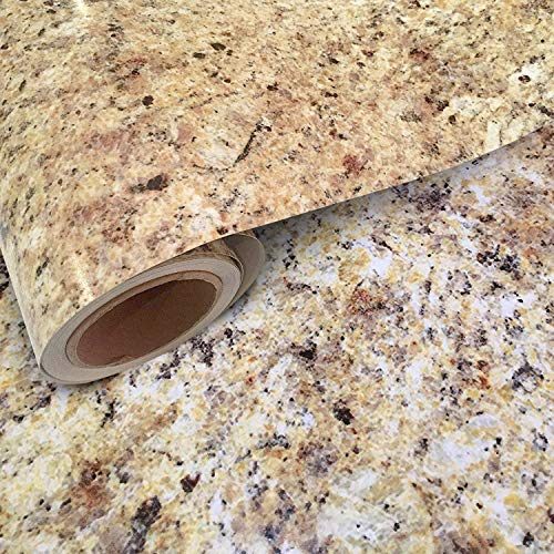 Instant Granite Venetian Gold/Santa Cecilia Counter Top Film 36quot x 144quot Self Adhesive Vinyl Laminate Counter Top Contact Paper Faux Peel and Stick Self Application