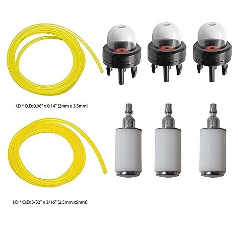 ouyfilters combustible Líneas con filtros de combustible imprimación bulbos para Poulan Weedeater Craftsman Stihl Echo desbrozadora motosierra ...