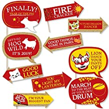 Funny Chinese New Year - 2019 Year of The Pig Photo Booth Props Kit - 10 Piece