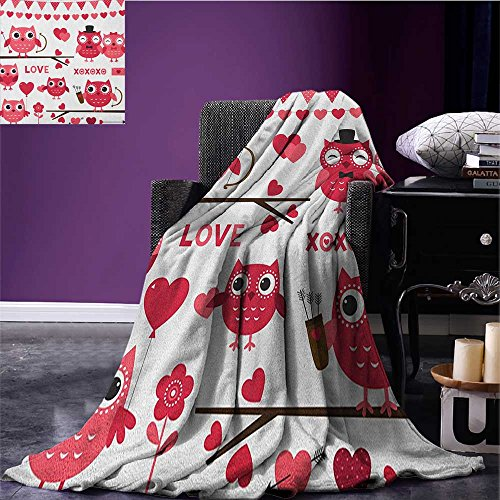 Animal survival blanket Owls Image with Romantic Elements Arrow Eyesight Partners in Amour Artful Design space blanket Red White size:59