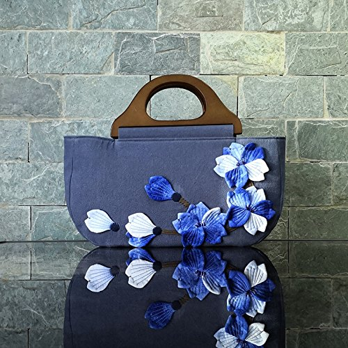 Summer Original Spring Wind And Lady Tie National Handmade Wooden Dyeing Handle Tide Girl Bag Wild Blue White Bisser Mosaic Iw5FqgCxE