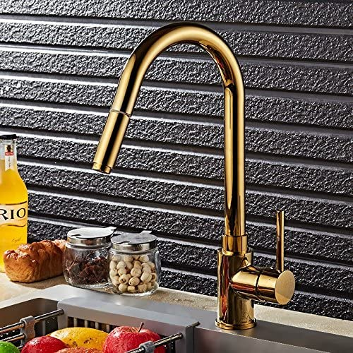 Lovedima Luxurious High-Arc Single Handle 1-Hole Solid Brass Pull-out Spray Kitchen Faucet in Gold Gold