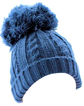 Soft Touch Baby Navy Knitted Pom Pom Hat (Newborn to 24 Months)   Amazon.co.uk  Clothing 5f6ac1e975c3