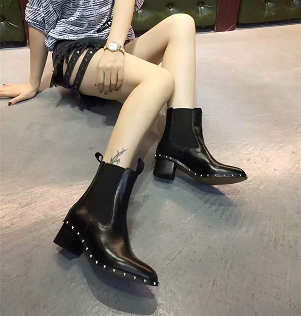 Fuxitoggo Damenmode Damenmode Damenmode Runde Kopf Leder Nieten Martin Stiefel Mit Hohem Absatz (Farbe   Schwarz, Größe   37EU) 8a95e2