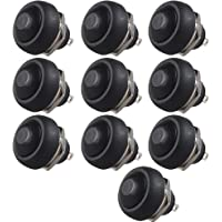 E Support 12mm Black Round Toggle Switch Momentary Pack of 10