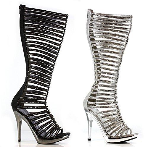 "ELLIE Women 5"" High Heel Knee High Strappy Open Toe Rhinestone Boots Shoes"