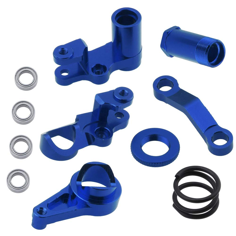 Hobbypark Aluminum Steering Bellcranks and Servo Saver Set w/Bearings for Traxxas 1/10 Slash 4x4 Hop-Up Upgrade Parts Navy Blue 61--a6mDE4L