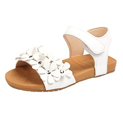 e9e0a7ea14c1b OHQ Sandales De Plage pour Filles Rose Blanc Toddler Baby Girl Floral Sole  Enfants Princesse Chaussures
