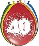 8 Globos 40 ª Cumpleaños de colores