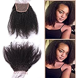 """Youth Beauty Mongolian 4b 4c Afro Kinky Curly Closure Unprocessed Human Hair Lace Closure (4X4) Natural Black Color 08"""" Inch"""