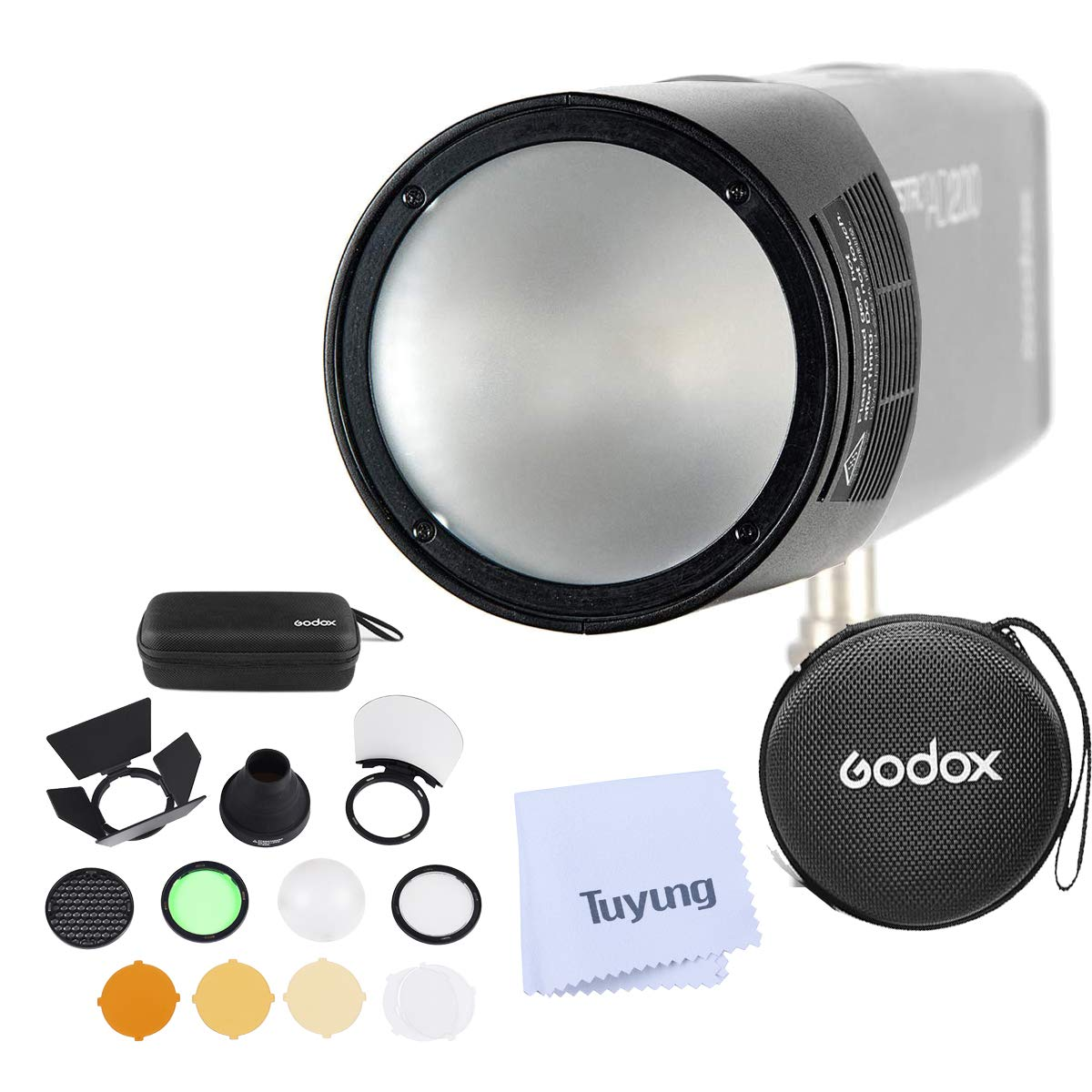Godox H200R Round Flash Head and Godox AK-R1 Accessories Kit Compatible for Godox AD200 AD200PRO Pocket Flash Light by Godox
