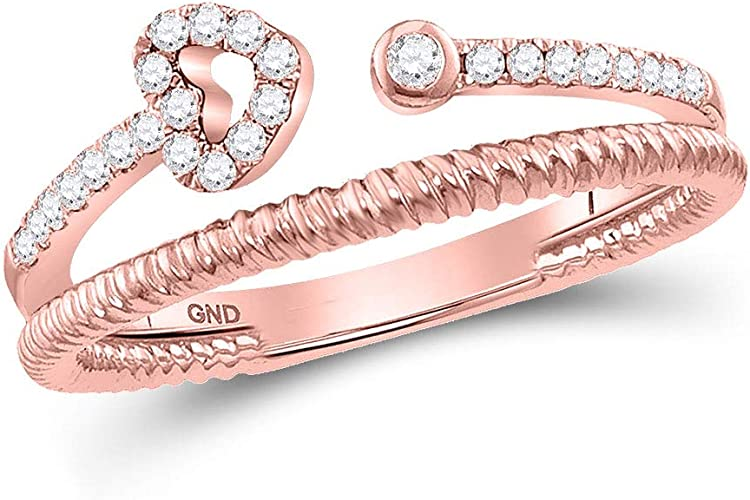 Diamond Wedding Band in 10K Pink Gold G-H,I2-I3 Size-5.25 1//6 cttw,