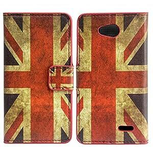 Sony Xperia M2 PU LEATHER UK VINTAGE ENGLAND design case móvil casos smartphone bumper Flip bag Cover protección thematys®