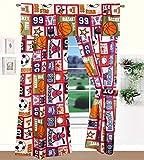 Golden Linens 5 pieces Printed Kids Window and Tie Back Navy Blue Orange Sport Basket ball Football # Sport -05