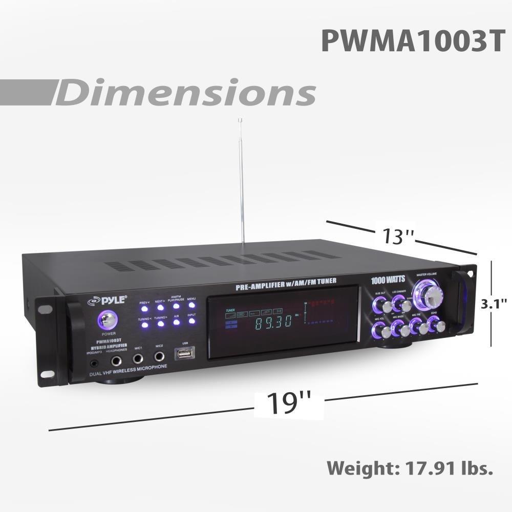 4 Channel Home Audio Power Amplifier 1000 Watt Stereo Vhf With 30 Watts Receiver W Speaker Selector Am Fm Radio Usb Headphone 2 Wireless Mics For Karaoke