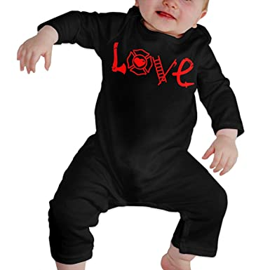 21ce39be904 Infant Baby Boy Girl Cute Love Firefighters Graphic Romper Jumpsuit Bodysuit  Black