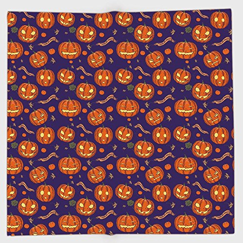 Polyester Bandana Headband Scarves Headwrap,Halloween,Pumpkins Pattern Different Face Expressions Happy Angry Scary Puzzled,Orange Indigo Yellow,for Women Men