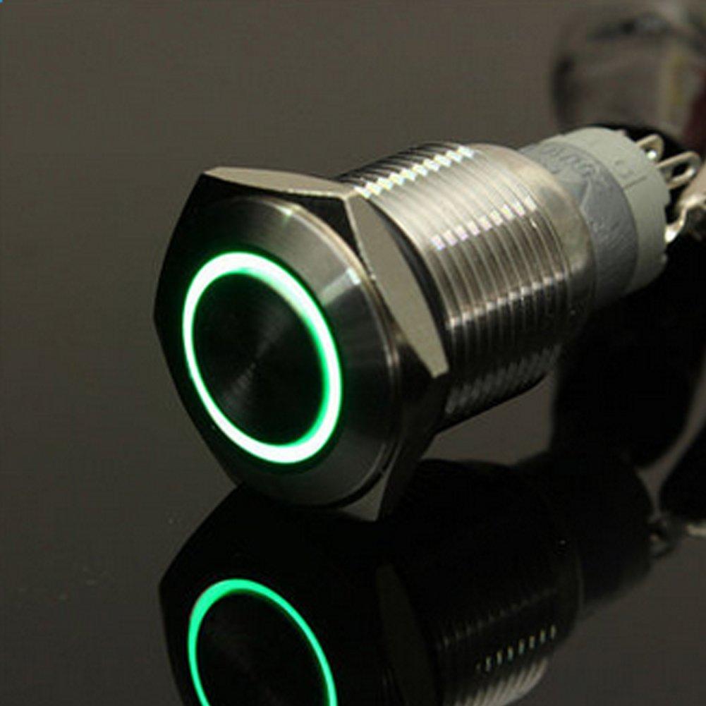 Blau vrsupin0 Metall LED Schalter Verriegelung Druckschalter EIN Aus Edelstahl 12V LED Angel Eye Kopf f/ür 16mm 0,63Montagebohrung