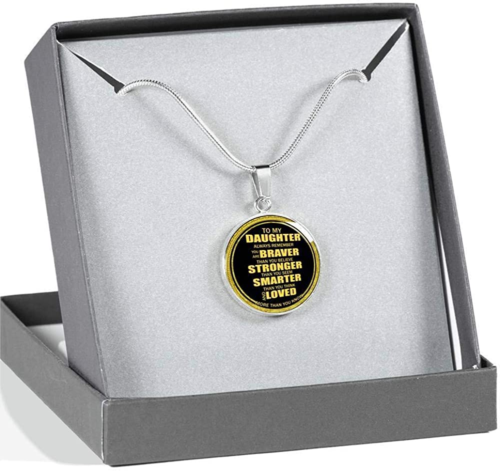 Back to School Birthday You are Braver Than You Believe Inspirational Gifts for Teen Girls On Xmas to My Daughter Necklace from Dad Mom