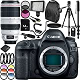 Canon EOS 5D Mark IV DSLR Camera with EF 100-400mm f/4.5-5.6L IS II USM Lens 30PC Accessory Bundle - Includes 64GB Memory Card + 3PC Filter Kit (UV-CPL-FLD) + 6PC Multicolored Filter Set + MORE